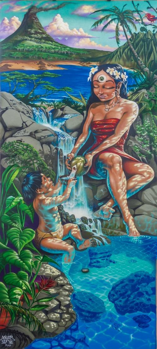 Mother of Mu Mural at Hoku Foods Kapaa Kauai